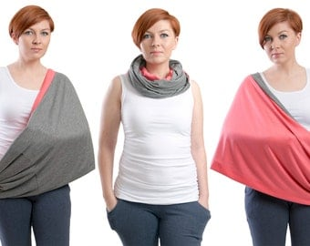 Nursing scarf, Infinity Scarf,  2in1 Nursing Cover, Nursing shawl, Breastfeeding cover, Graphite and Coral
