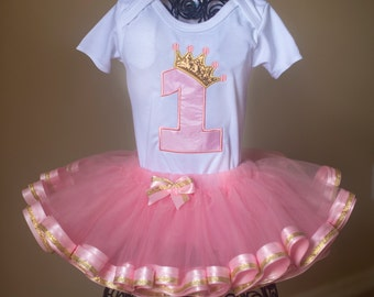 Sweet & Sparkly Princess Crown Birthday Tutu Set Pink Gold