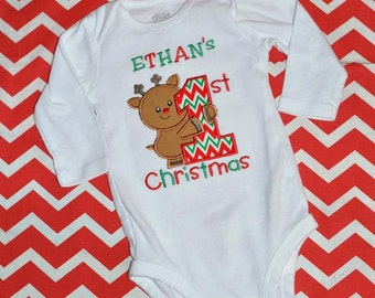 First 1st Christmas Onesie Shirt Personalized Applique