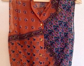 Vintage Cropped Ladies Shirt Blouse Top