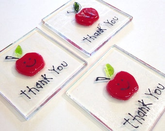 Thank You Teacher Token Hand Made Fused Glass gift