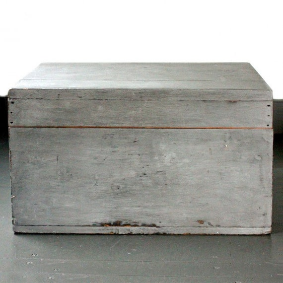 Grey vintage wooden trunk box by modernretrouk on etsy