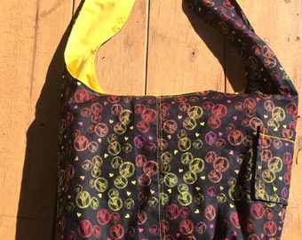 Black, Pink, and Yellow Peace and Love Reversible Hobo Shoulder Bag / Tote