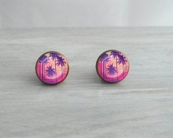 Tropical Sunset w/Palm Trees Glass Dome Stud Earrings