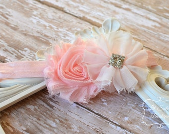 Pink Headband, Light Pink, Shabby Chic Headband, Chiffon Flower, Newborn Headband, Girl Headband, Baby Girl, Accessories,  - Pink Ballerina