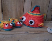 Tropical crocheted fish hat with matching bootie set for baby boy. Infant fish hat for boy, orange, yellow blue