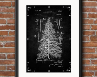 Christmas Tree Lights Poster, Christmas Tree Patent, Christmas Print Christmas Art, Holiday Decor, Christmas Blueprint Wall Art Decor - 0409