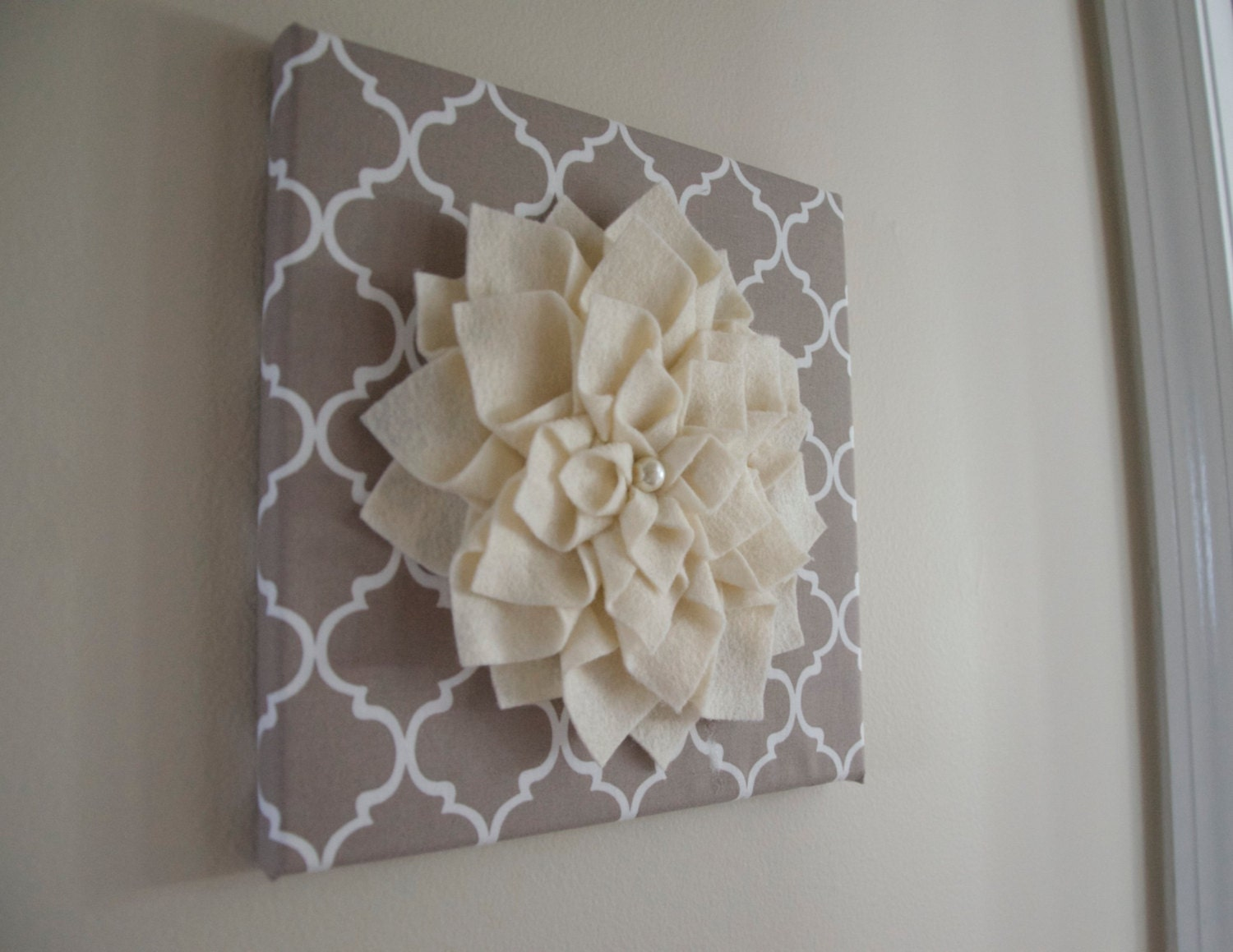Felt Flowers Wall Decor : Felt flower canvas d wall decor quatrefoil