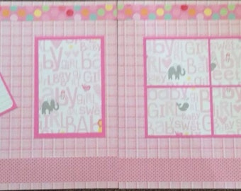 2 Page 12x12 Its A Girl Baby Premade Scrapbook Page Layout