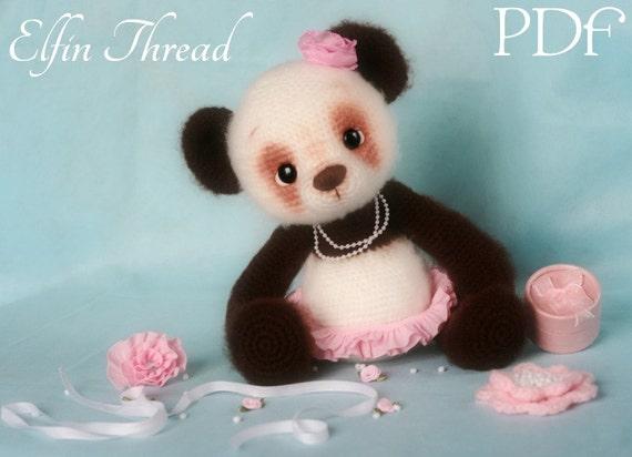 Amigurumi Panda Bear Crochet Pattern : Elfin thread panda bear amigurumi pdf pattern crochet