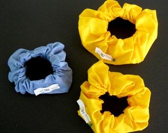 Solid Color Scrunchies, Yellow Scrunchie, Blue Scrunchie, Handmade scrunchy, Hair tie, Ponytail holder, Hair accessory, Ponytail elastic