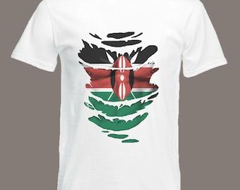 Kenyan Flag T-Shirt see Muscles through Ripped T-Shirt Kenya in all sizes