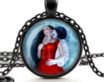 Romantic Vampire Lovers Pendant Necklace Glass Cameo Cabochon Tile Necklace Jewellery