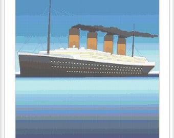 Titanic ship cross stitch pattern. Sea, Ocean. Nautical.