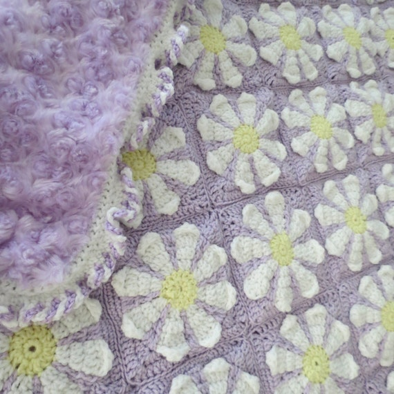 Crocheted Daisy Flower Baby Quilt by BabyofRhea on Etsy