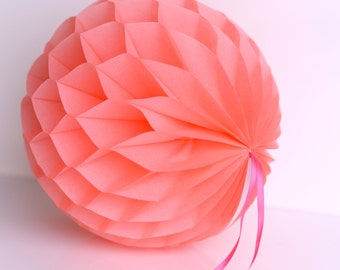 Coral Tissue paper honeycombs -  hanging wedding party decorations