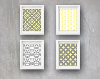 Set of 4 Retro Pattern Wall Art 5 x 7 or 8 x 10 PHYSICAL Decor Vintage Wallpaper Tile Poster Print Yellow Grey Art Deco Style Delivered
