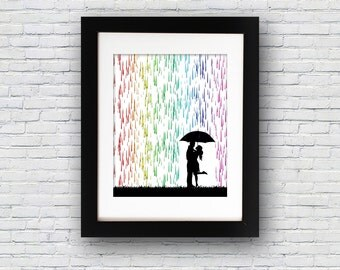 Rainbow Rain Couple Umbrella PRINTABLE Wall Art Instant Download Digital Poster Print Silhouette Love Modern Minimalist