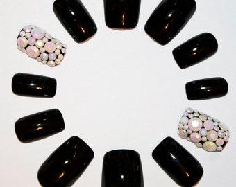 Black & Iridescent Rhinestone False Nails