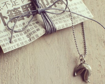 fortune cookie necklace silver