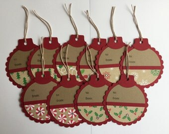 Handmade Set of 10 Christmas Gift Tags, Scrapbooking, Card Making, Gift Tags