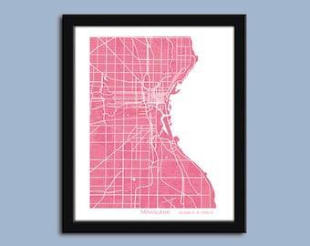 Milwaukee map, Milwaukee city art map, Milwaukee wall art poster, Milwaukee decorative map