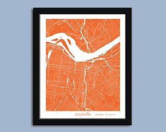 Louisville map, Louisville city map art, Louisville wall art poster, Louisville decorative map