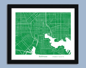 Baltimore map, Baltimore city map art, Baltimore wall art poster, Baltimore decorative map