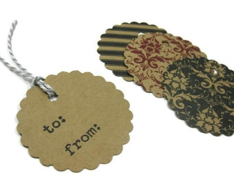 Scalloped Round Gift Tag set of 15