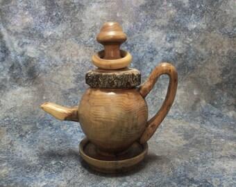 Wooden Tea Pot | Medieval Wood Tea Pot | Wood Tea Pot | Elm Tea Pot