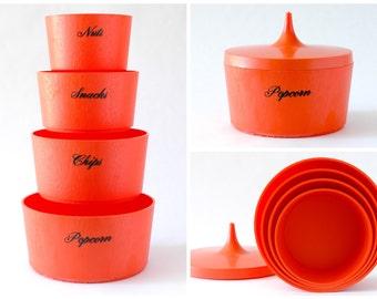 Vintage Orange Nesting Snack Bowls