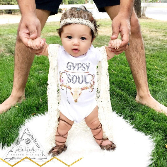 GYPSY SOUL skull antlers feather baby esie by ThePineTorch