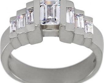 Emerald Cut Diamond Engagement Ring 0.75 Carat & Baguette Diamonds In White Gold