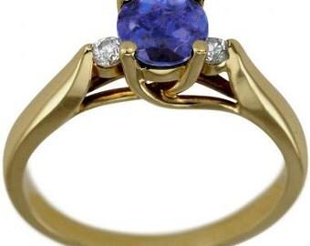 Tanzanites in Tanzanite Engagement Ring In 14K Yellow Gold Engagement Ring