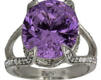 Amethyst Ring In 14k White Gold With A Split Shank And Pave Diamond Accents