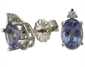 Tanzanite Earrings Tanzanite Stud Earrings With Diamond In 14k White Gold