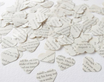 Heart confetti made from Twilight book pages, 1 inch wedding and party confetti hand stamped and available in pack sizes starting at 200