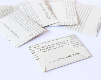 Mini envelopes - made using genuine Harry Potter books - 5.5 x 7.7 cm approx - set of 10- small gift envelopes