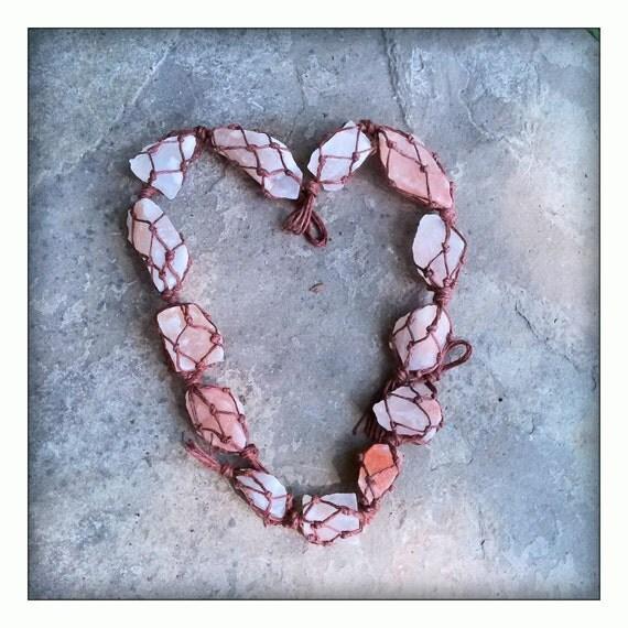 Knotted hemp himalayan pink sea salt crystal / Bath and Shower Healing / Sea Salt Sun Catcher / Beach Decor / Cottage Decor / Clean Air