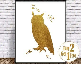Owl art print, owl wall decor, owl print, owl painting, Gold Wall art, living room wall art, Gold Home Decor, owl illustration, owl wall art