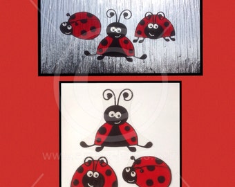 Ladybird Ladybug window cling set for glass & mirror surface, 3 smiley ladybugs reusable decals, faux stained glass static cling decal