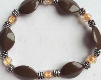 brown and orange stretch bead bracelet