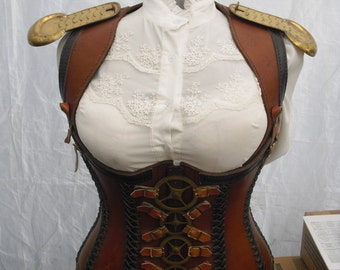 Custom made Leather Steam punk corset