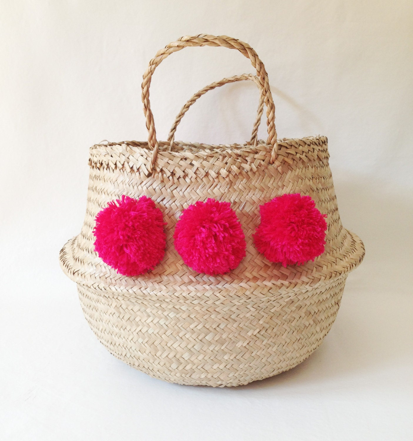 pom pom sea grass belly basket fuschia pink panier boule. Black Bedroom Furniture Sets. Home Design Ideas