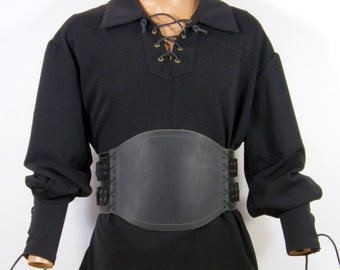 Wide belt made of real leather, medieval armor, viking