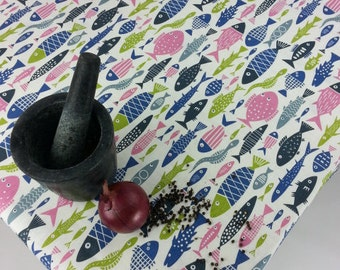 Blue pink green tablecloth | Rectangle tablecloth | Custom tablecloth | Fish tablecloth | Scandinavian design | Sewn in my studio