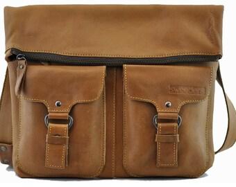 Real leather satchel bag