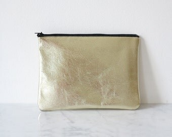 DISCOBAG gold, a little clutch made from leather
