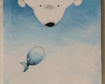 """Acrylic painting on canvas (8x10""""): Putih And Its Imaginary Friend"""