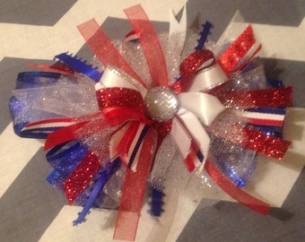 Patriotic Loopy Large Hair Bow - Red, White & Blue